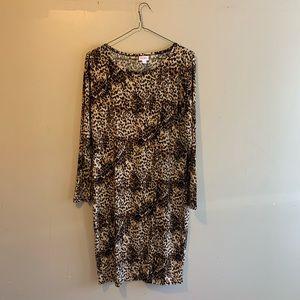 Lularoe Cheetah Print 2XL long sleeve dress